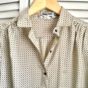{Vintage} Classic Star Spotted Button Down Blouse